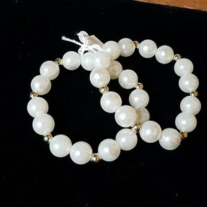 """White Beaded w Silver Accent Bead 8"""" Set of 2"""
